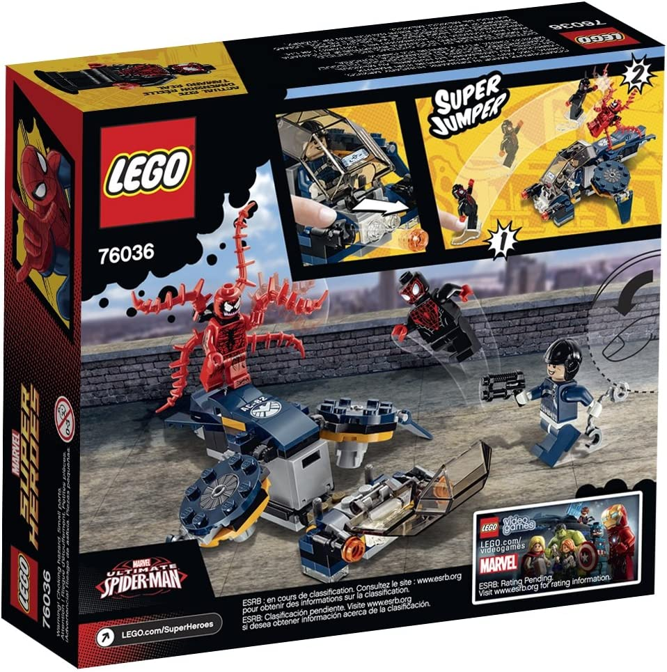 NEW 76036 LEGO Marvel CARNAGE SHIELD SKY ATTACK Miles Morales Spiderman 97pc set