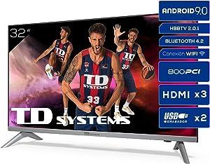 Televisiones Smart TV 32 Pulgadas HD Android 9.0 y HBBTV, 800 PCI Hz, 3X HDMI, 2X USB. DVB-T2/C/S2, Modo Hotel - Televisores TD Systems K32DLJ12HS