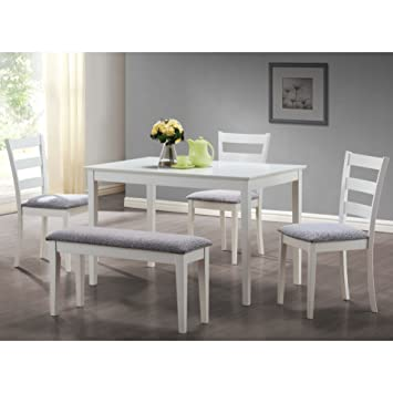 Exceptional Monarch Specialties I 1210, Dining Set With A Bench And 3 Side Chairs, White