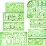 9 peças de moldes de desenho geométrico Boao para construção de estêncil de construção verde transparente réguas de medição d
