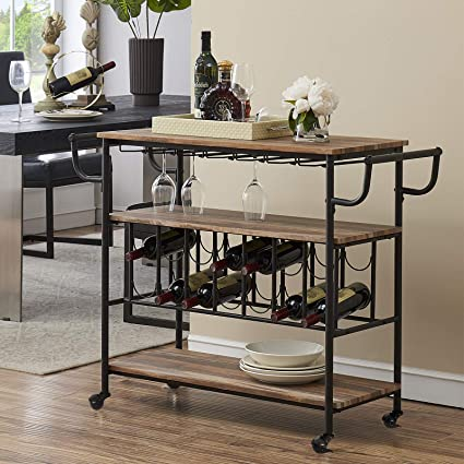 Gadroad Industrial Bar Cart with Wine Rack and Glass Holder for Home Mobile 3-Tier Kitchen Serving Storage Cart with Lockable Wheels Rustic Brown Utility Wine Trolley with Handle Rack