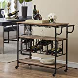 HOMYSHOPY Industrial Bar Cart with Wine Rack and Glass Holder, Mobile Wine Carts with Wheels for The Home, Metal Serving Cart