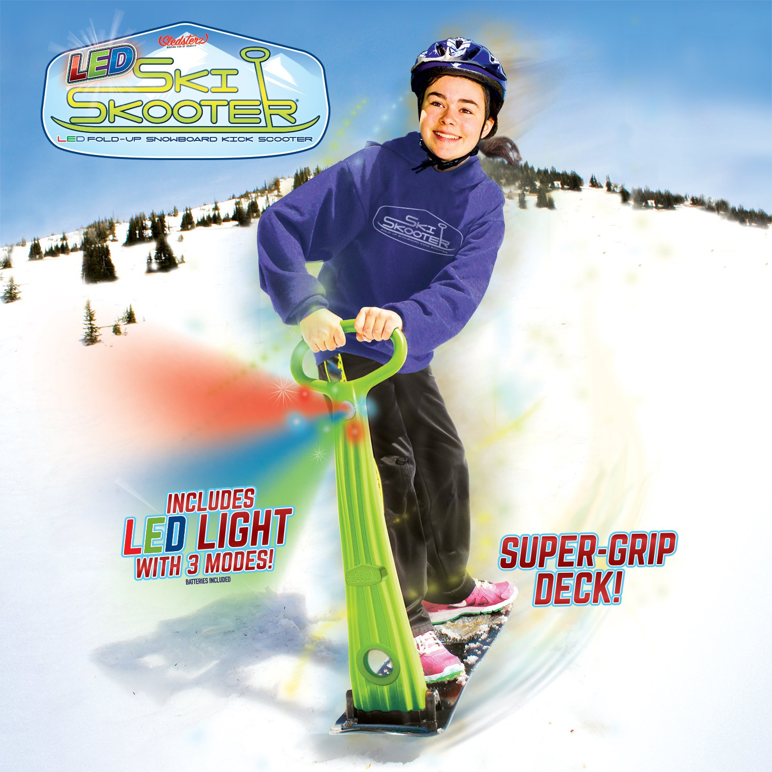 GeoSpace Original LED Ski Skooter: Fold-up Snowboard Kick-Scooter for Use on Snow and Grass, Assorted Colors by Geospace