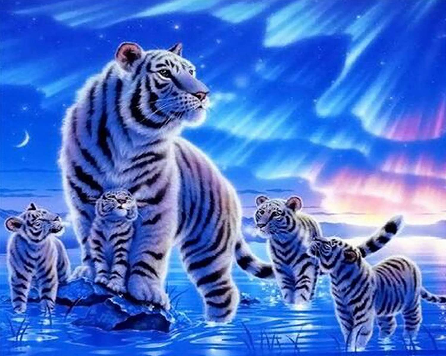 20 inch Ice Tiger 16 DIY Digital Canvas Oil Painting Gift for Adults Kids Paint by Number Kits Home Decorations