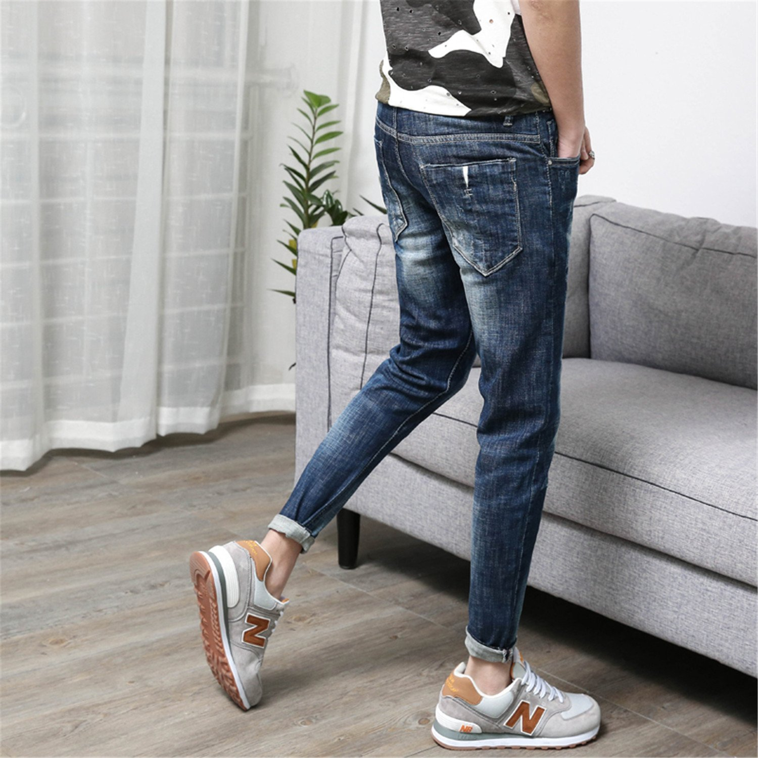 794e2fe729df Zcaosma Men Jeans Stretch Ripped Ankle Zipper Slim Summer Skinny Pants  Trousers at Amazon Men s Clothing store