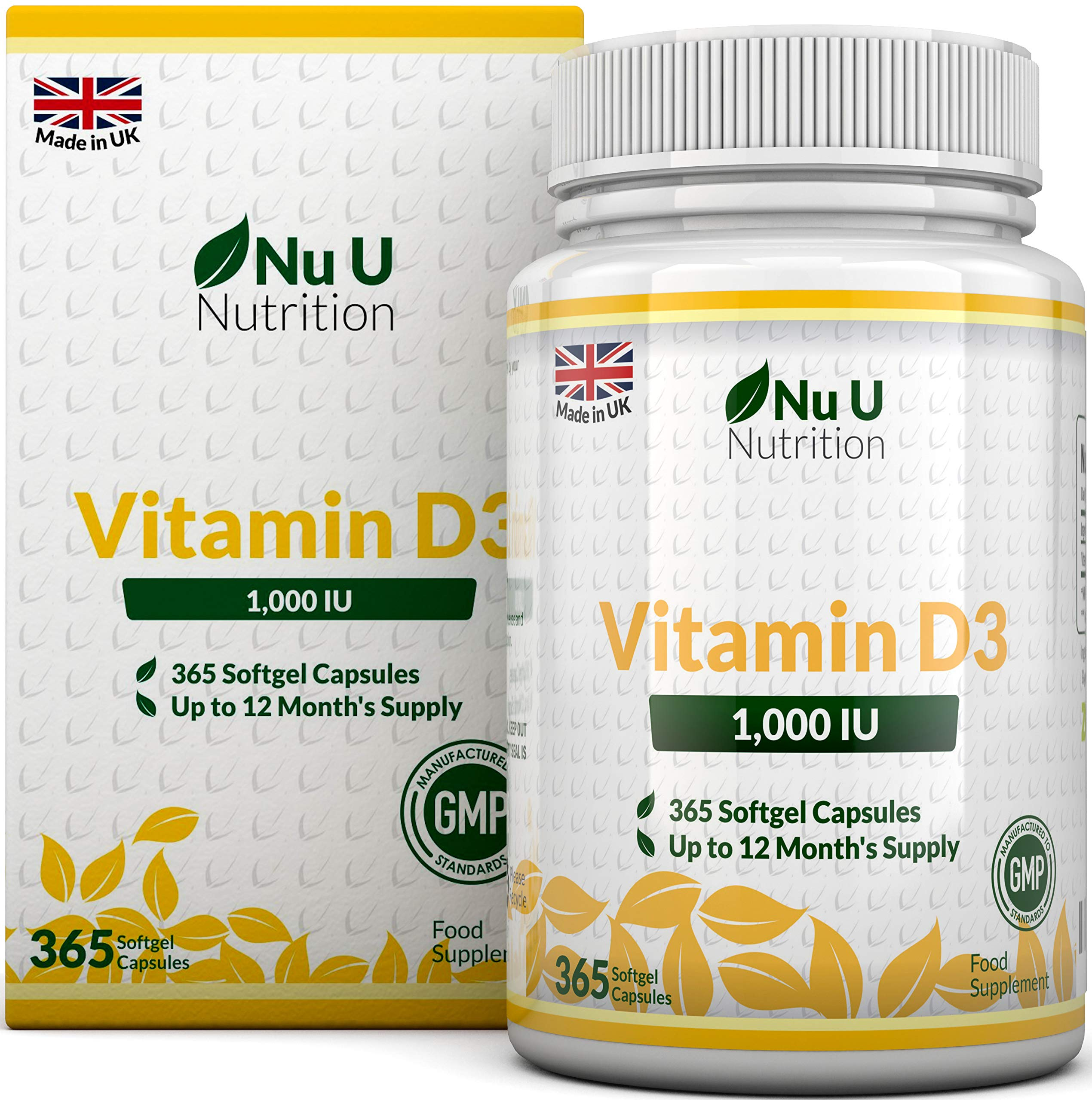 Vitamin D3 365 Softgels (Full Year Supply) | 1000IU Vitamin D Supplement | High Absorption Cholecalciferol Vitamin D (Vitamin D3 softgels Easier to Swallow Than Vitamin D Tablets) by Nu U Nutrition product image