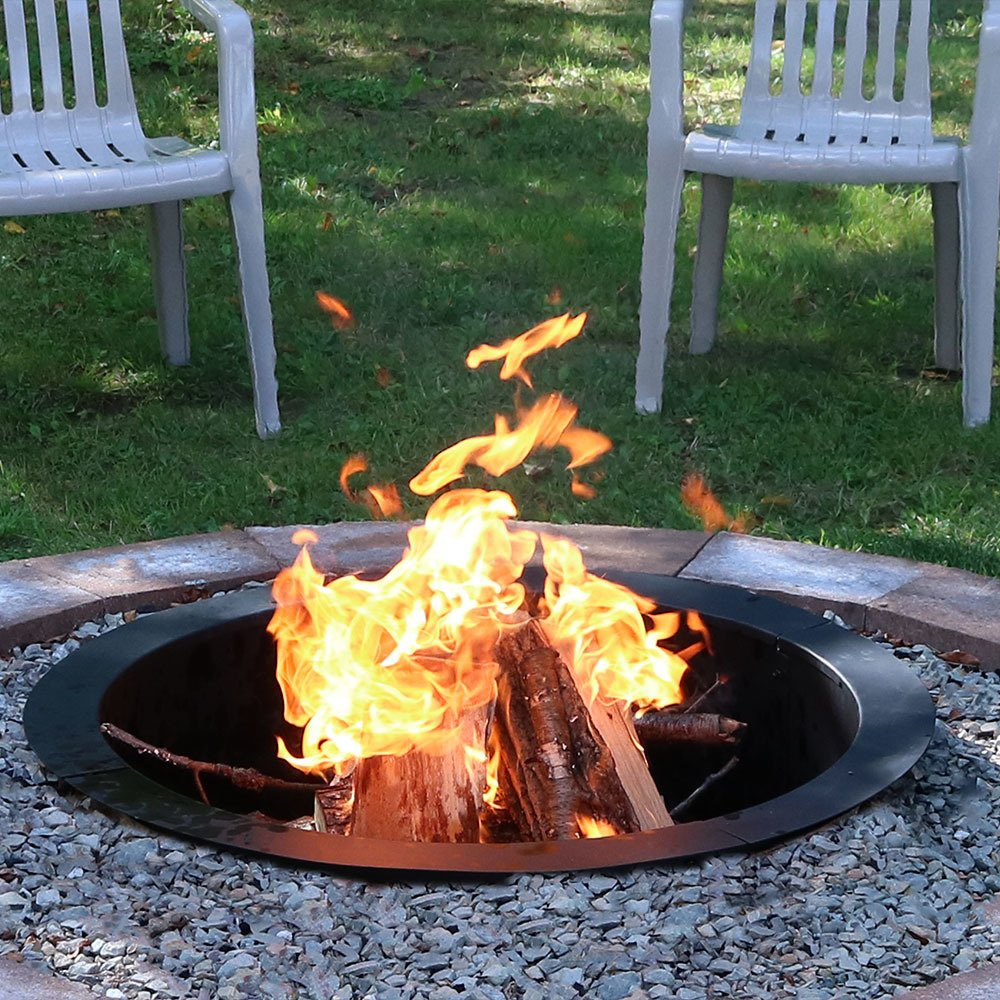 amazon com sunnydaze durable steel fire pit ring liner diy fire