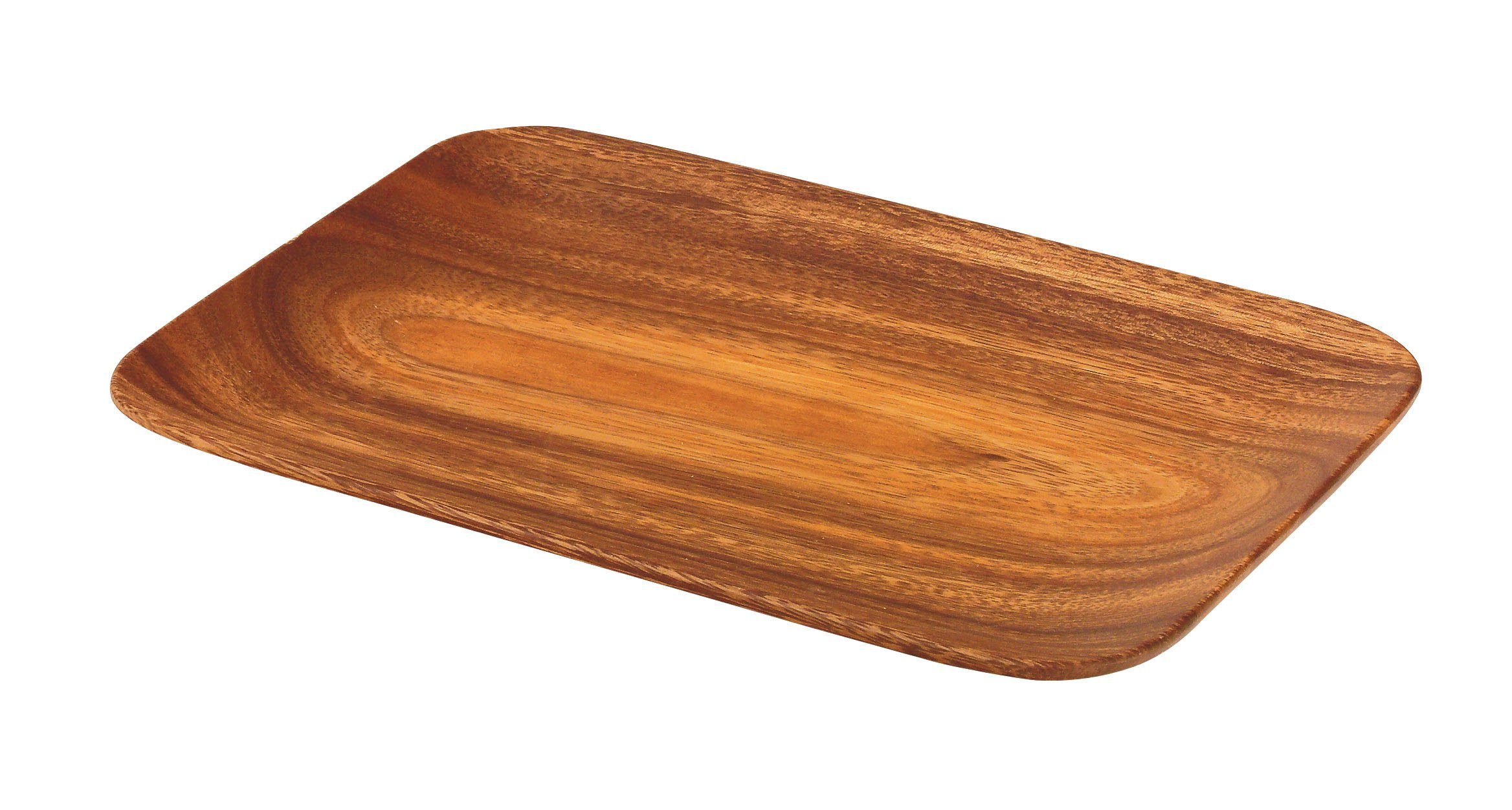 Pacific Merchants Acaciaware 10.5- by 7.25- by .75-Inch Acacia Wood Rectangle Serving Tray