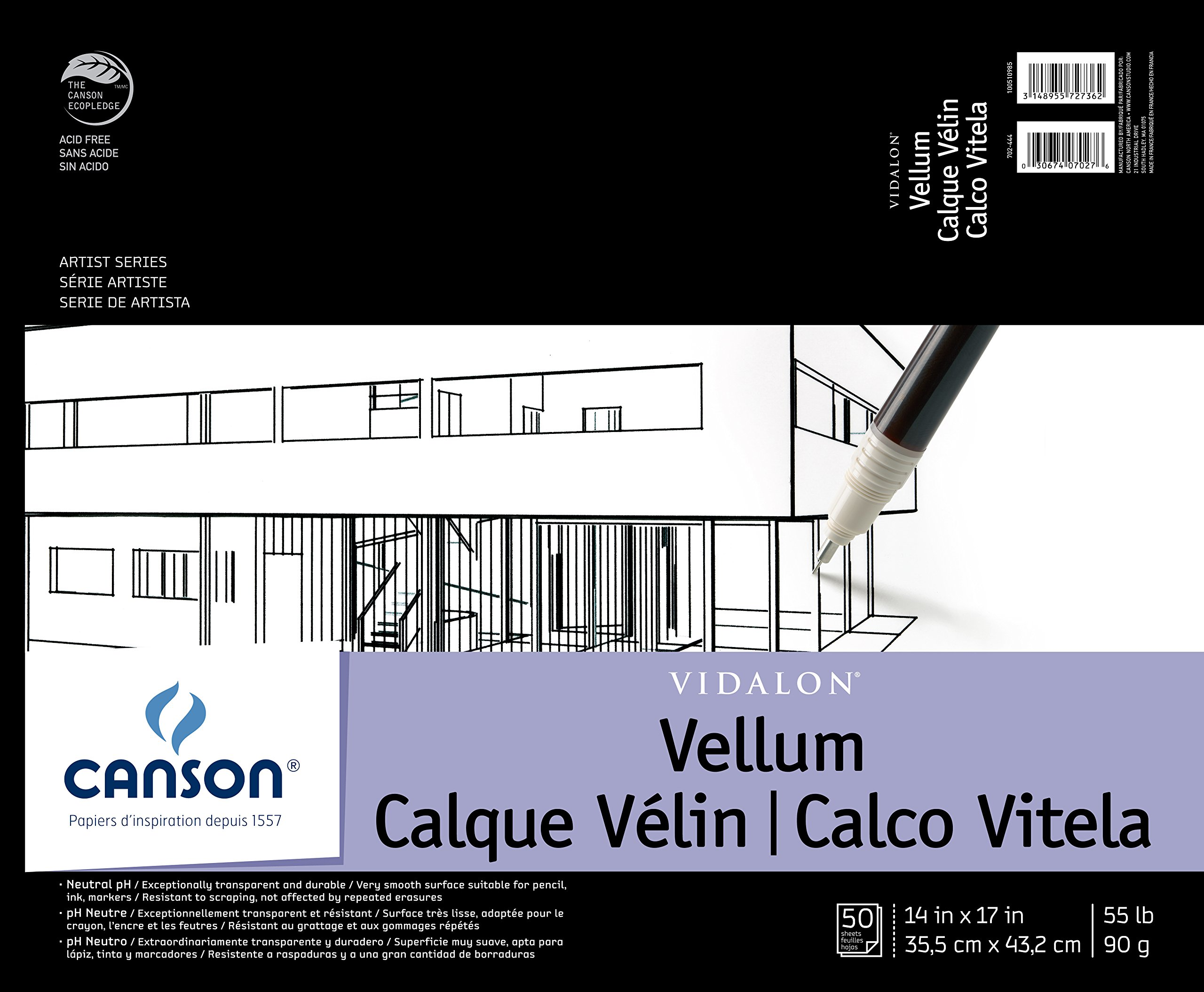 Canson Artist Series Vidalon Vellum Paper Pad, Translucent and Acid Free for Pencil, Ink and Markers, Fold Over, 55 Pound, 14 x 17 Inch, 50 Sheets by Canson