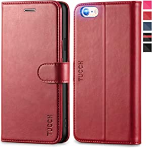 TUCCH iPhone 6s Wallet Case, iPhone 6 Case, Premium PU Leather Flip Folio Case with Card Slot, Stand Holder Magnetic Closure [Soft TPU Shockproof Interior Case] Compatible with iPhone 6s/6, Dark Red