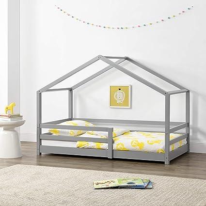 Cama para niños 80 x 160 cm Cama Infantil con Somier Estructura de Madera Pino En diseño de Casa con Reja de Seguridad Protección Gris Claro Lacado ...