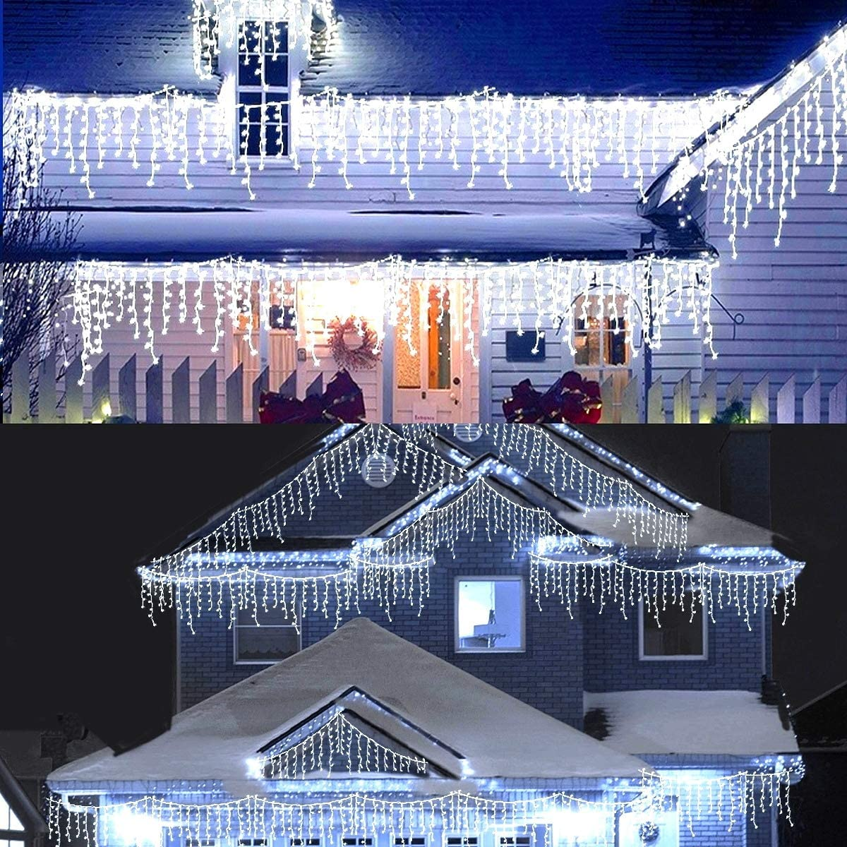 MAOYUE 29 ft 450 LED Christmas Decorations Outdoor Christmas Decorations Icicle Lights with Timer Christmas Lights Waterproof Cascading Lights for Outside Christmas Decor, Porch, Yard, White