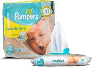 Pampers Swaddlers Disposable Size 1 Diapers (20 Count) Bundle with 36 Pampers Sensitive Care Baby Wipes