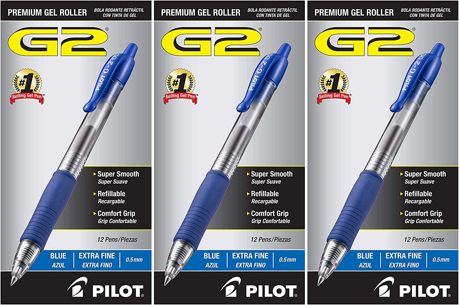 12 Count Premium Refillable /& Retractable Rolling Ball Gel Pens Product Dimensions: 1 x 2.8 x 5.75 inches Blue Ink