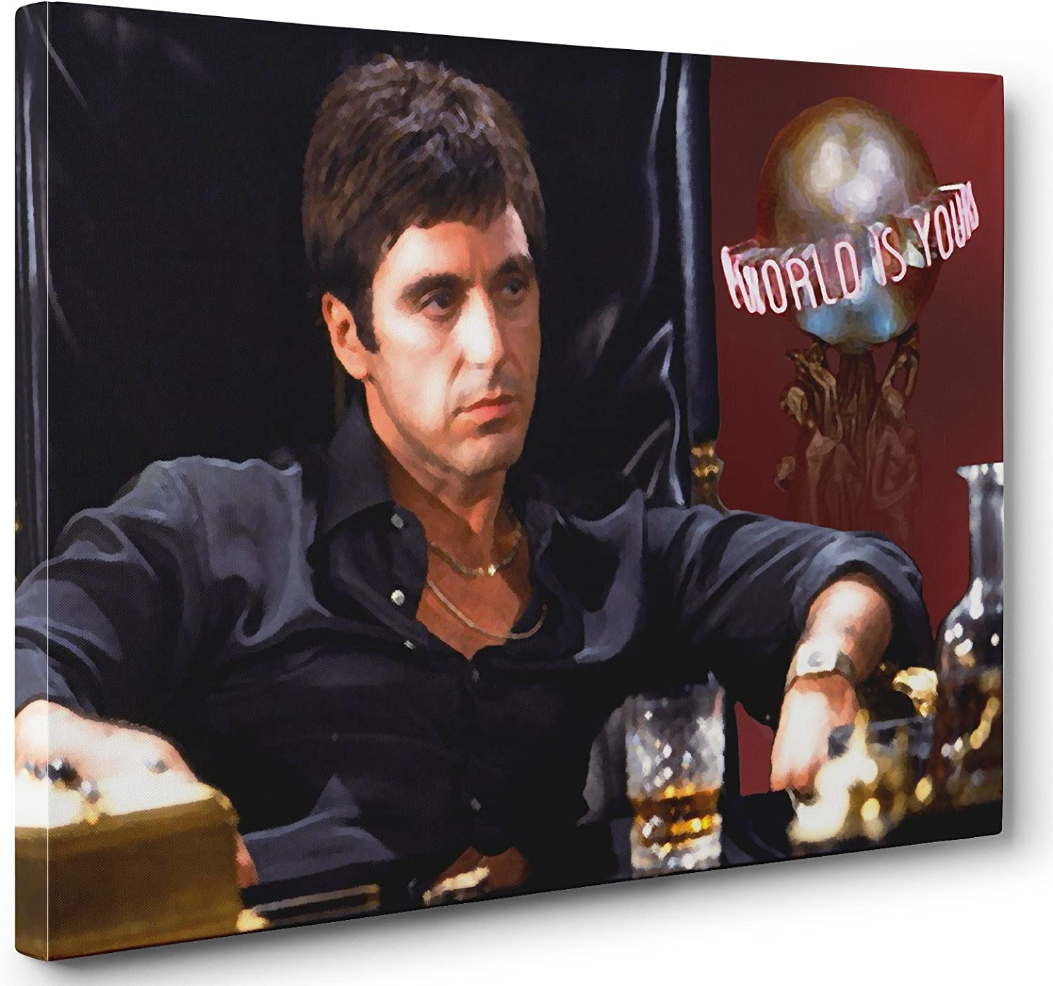 OneCanvas AL Pacino Scarface The World is Yours Canvas Print Poster Painting Photo Wall Art (24x36in.)