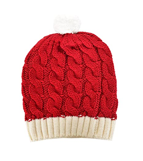 47e59ffd87e RWB Cable Knitted Beanie with Pom Pom One Size Christmas Hat Red at ...