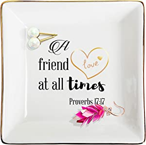 """ZeenArt Ceramic Ring Dish Jewelry Tray Decorative Trinket Plate, Gifts for Friends. A Friend Loves at All Times-Proverbs 17:17"""""""