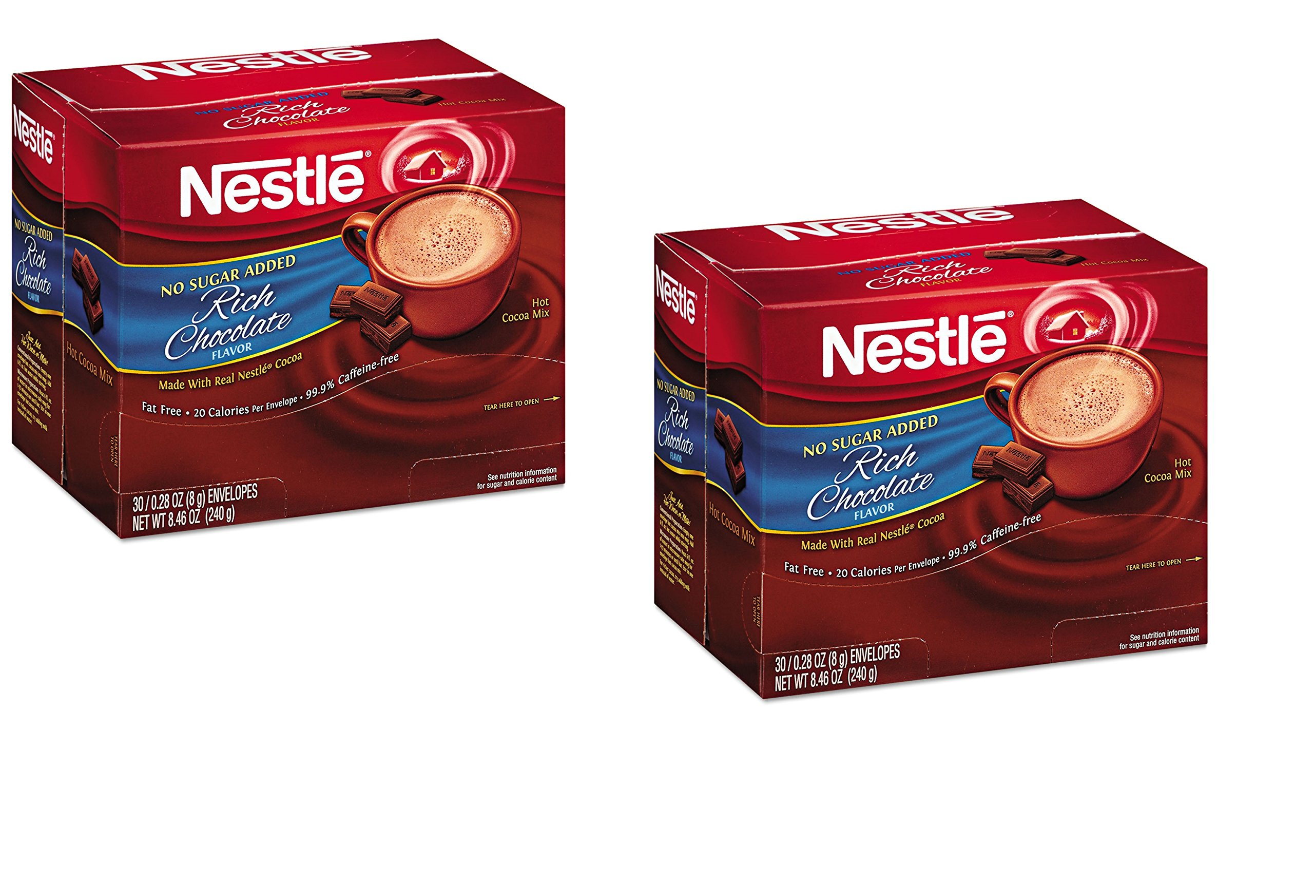 Nestle Cocoa Mix No Sugar Added 60 Count .28 Oz Packets (2 - 30 ct boxes) by Nestle