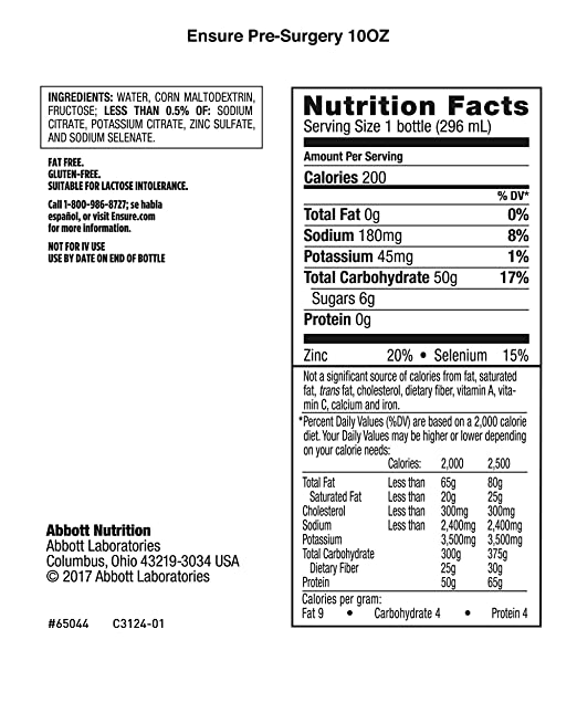 Nutrition News: Nutrition Facts Ensure