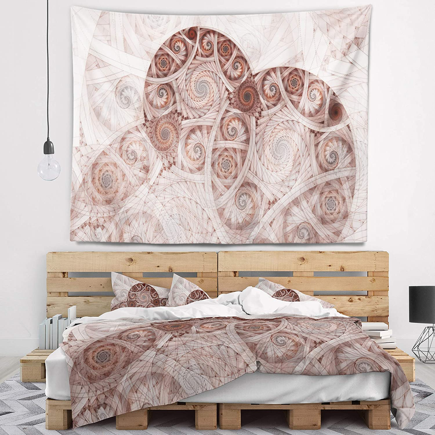 x 32 in 39 in Designart TAP11910-39-32  Symmetrical Fractal Flower Spiral Floral Blanket D/écor Art for Home and Office Wall Tapestry Medium in