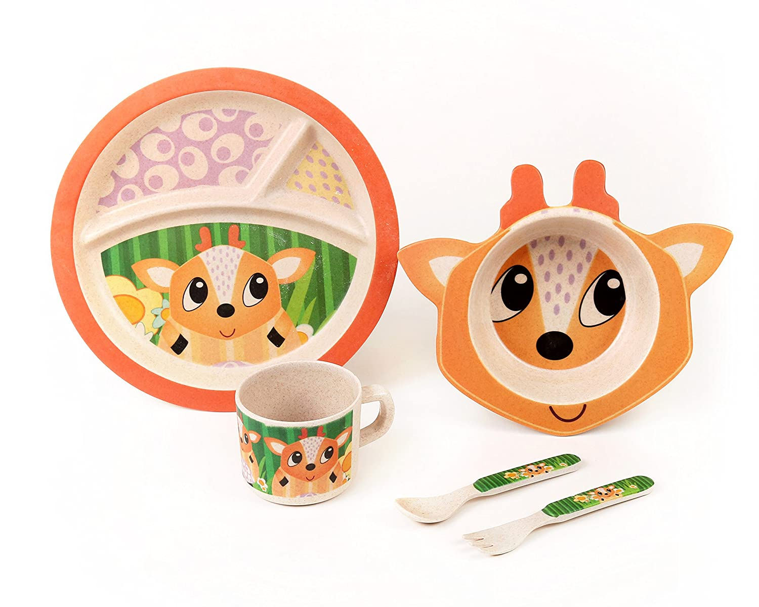 Bamboo Meal Set / Plate set / Dinner set by Green Frog Friends, Eco-friendly Bamboo Dishes, feeding Set for toddlers and Little Kids, Boys and Girls, Deer Character by Green Frog   B01I3X3JA8