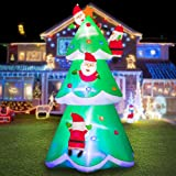 HOOJO 8 FT Christmas Santa Tree Inflatable Outdoor Decoration with Build in LEDs, Blow up Indoor, Yard, Garden Lawn…