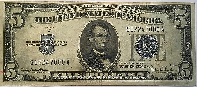 Amazon.com: 1934 D Blue Seal Five Dollar Silver certificate US Note ...