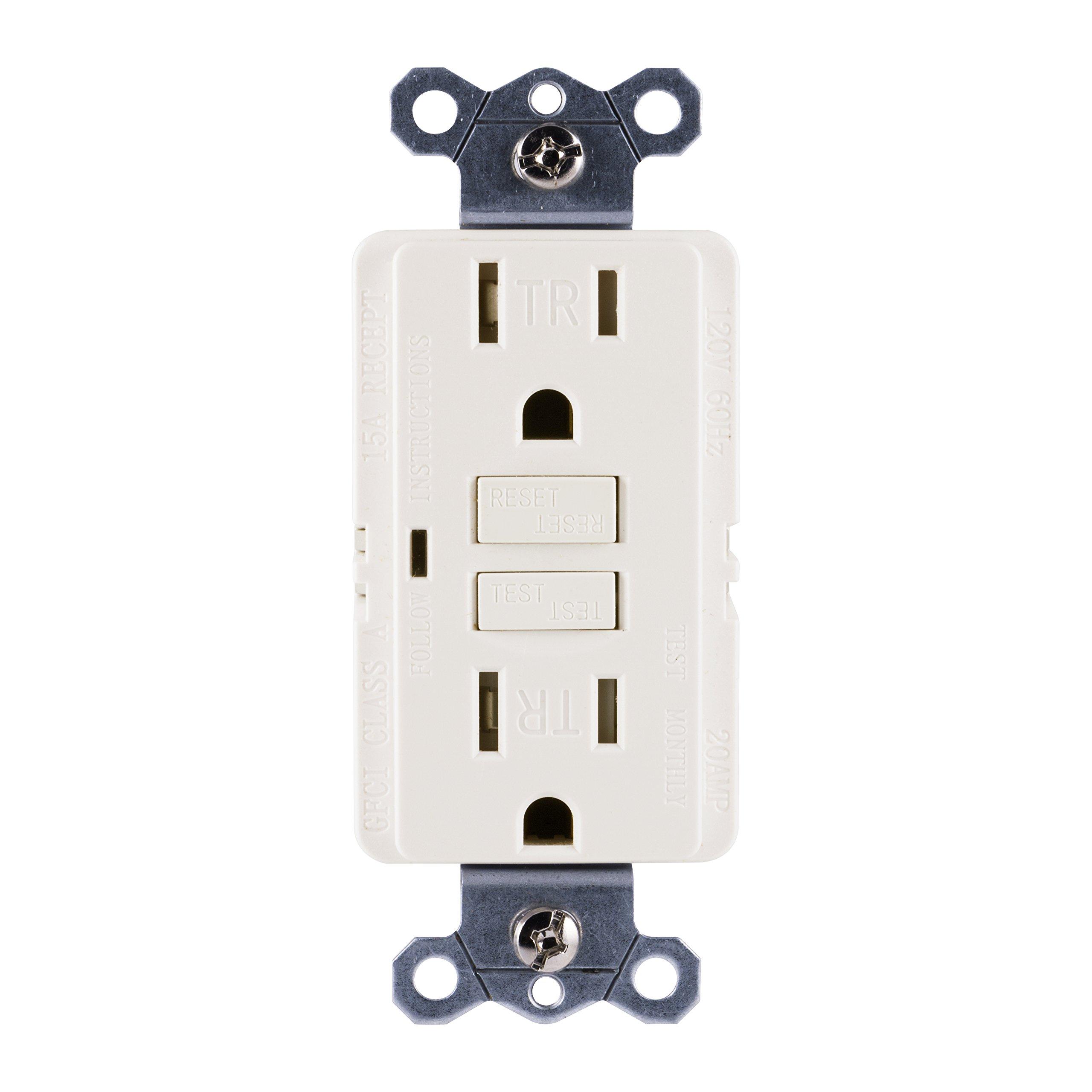 GE Tamper-Resistant GFCI Receptacle Outlet, 15-Amp 120-Volt, Light Almond, In-Wall, LED Indicator Light, UL Certified, NEC Compliant, Self-Test for Optimum Safety, 32076