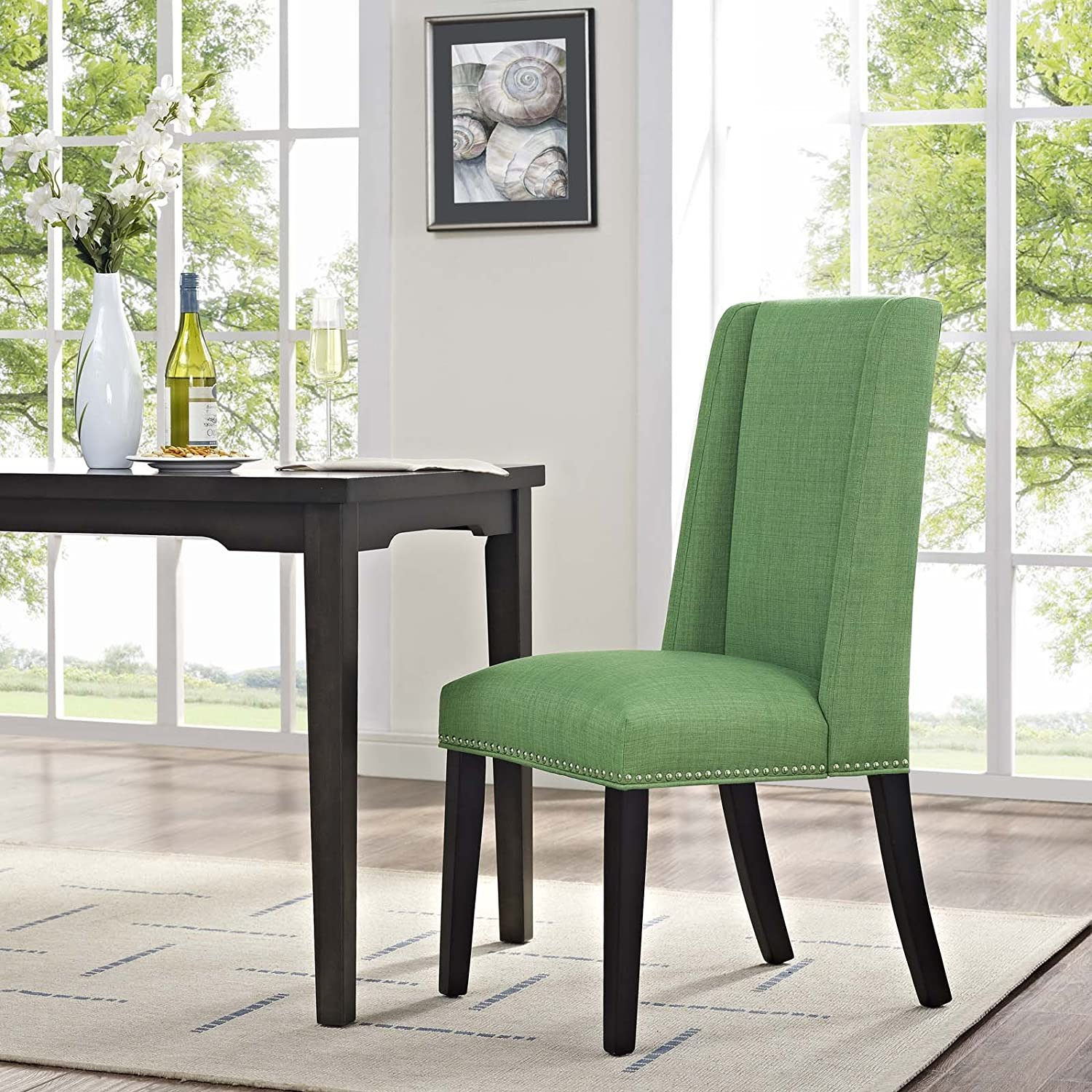 Modway Baron Modern Tall Back Wood Upholstered Fabric Parsons Kitchen and Dining Room Chair with Nailhead Trim in Kelly Green