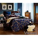 Dolce Mela DM479K Jacquard Damask Luxury Bedding Duvet Covet Set, King