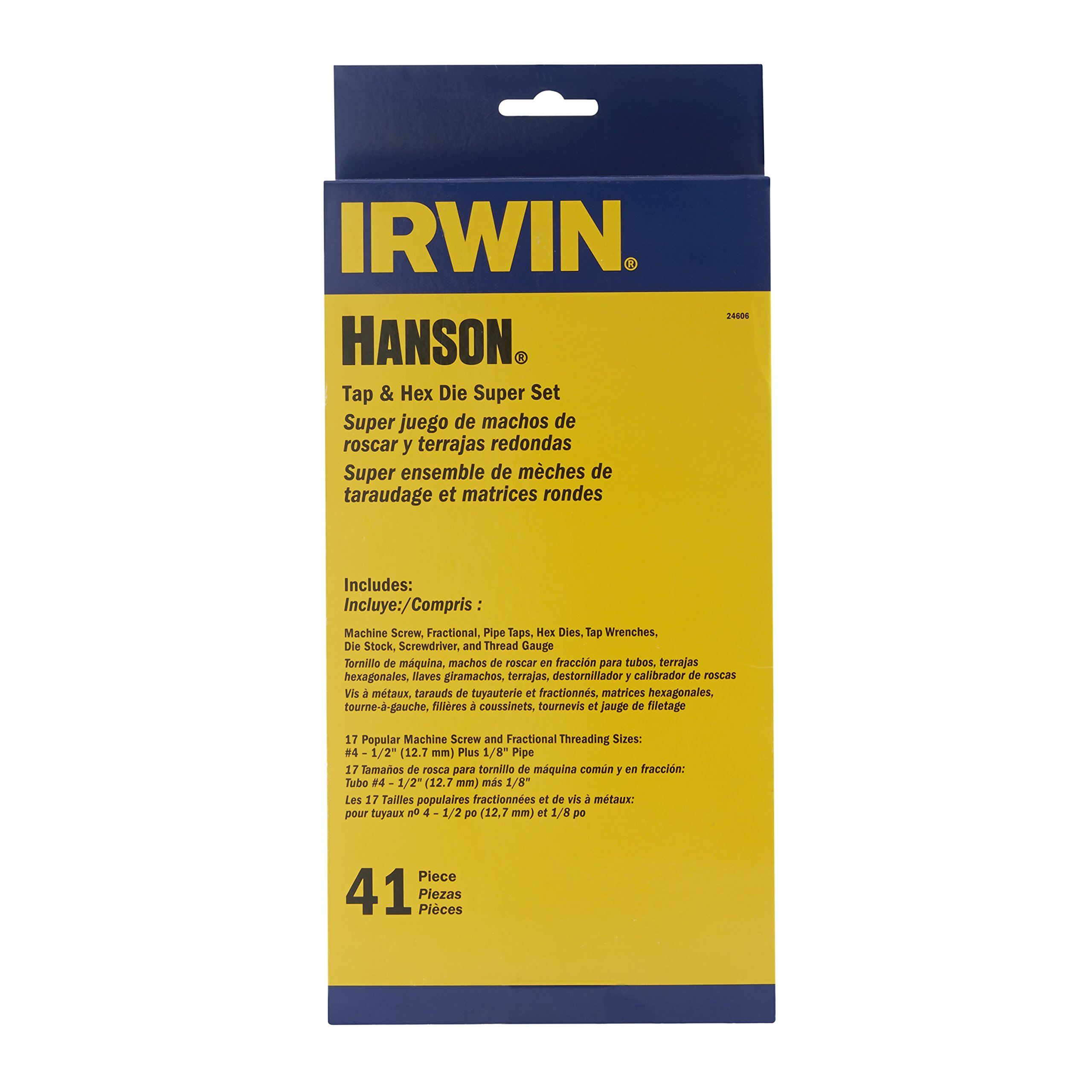 Irwin Industrial Tools 24606 Machine Screw with Fractional Tap and Die Set, 41-Piece