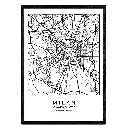 Nacnic Imprimer Plan De La Ville De Milan Style Scandinave