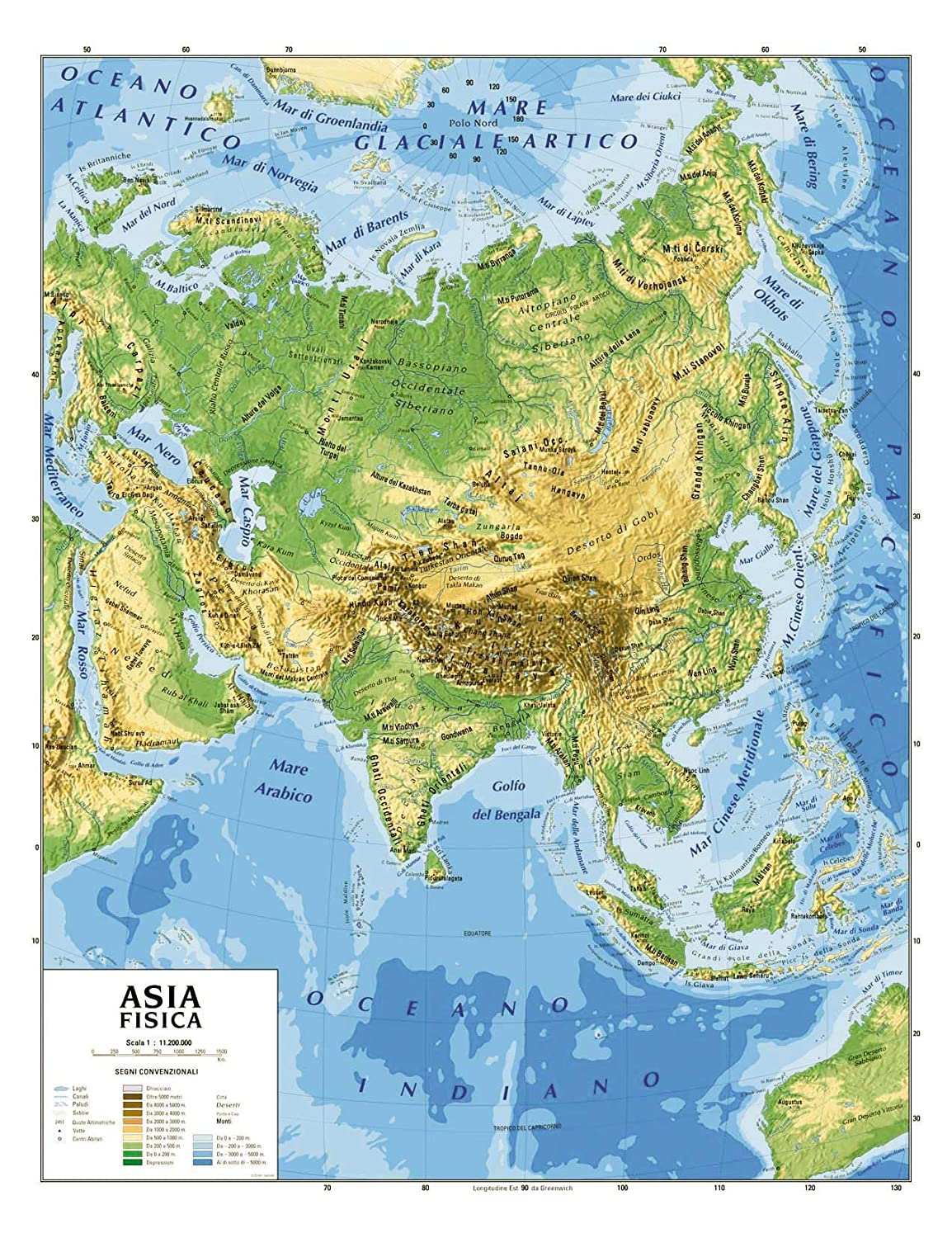 Cartina Geografica Asia Muta.Carta Geografica Cm 100x140 Asia Amazon It Giochi E