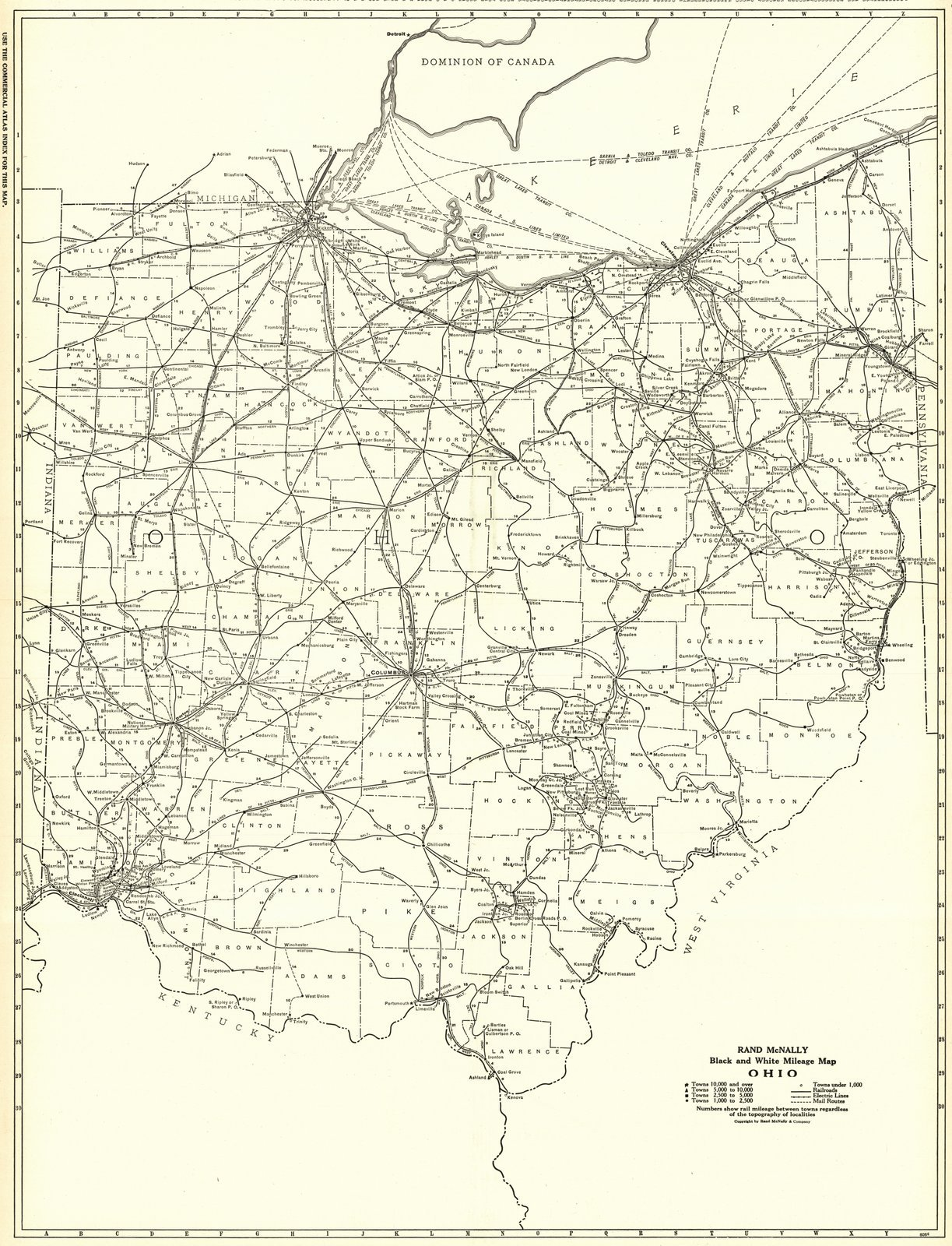 Historic Map | 1921 Ohio- Black and White Mileage Map | Rand McNally and Company by historic pictoric (Image #1)