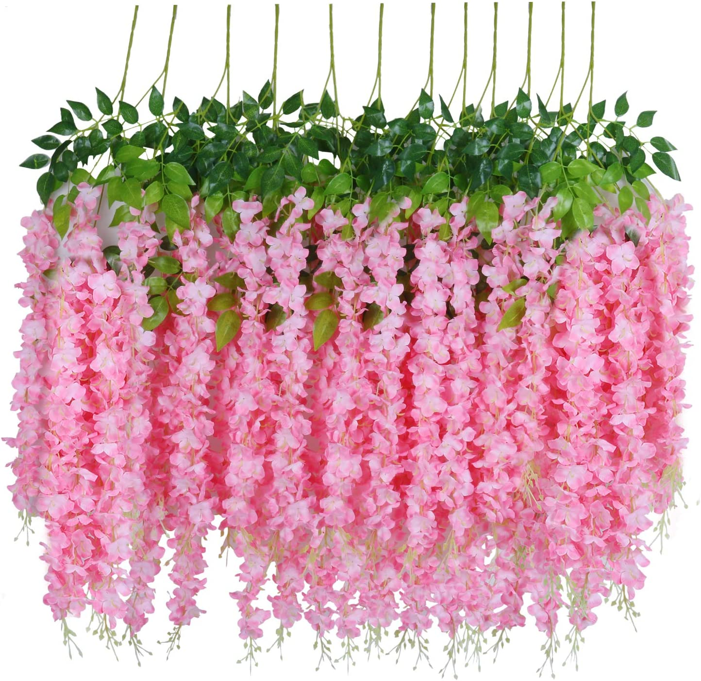 Combor 12pcs Artificial Fake Wisteria Vine Garland-GreenDec 3.6Ft//Piece Silk Wisteria Vine Ratta Hanging Flower for Home Garden Wedding Decor Pink
