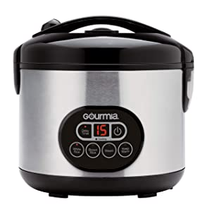 Gourmia GRC770 12 Cup (Cooked) Rice Cooker and Steamer For Grains and Hot Cereal - Steam Basket - Digital Display - Keep Warm - Delay Timer - 500W- Stainless Steel - Bonus Cookbook