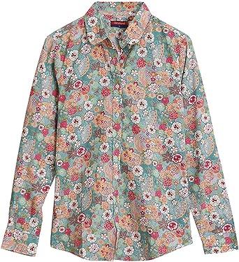 Dioufond Camisa de Mujer Manga Larga de Algodón Flores Patrón ...