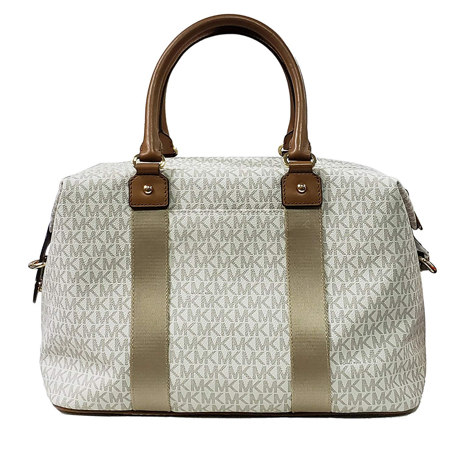 7abd1f6950b78b Amazon.com: Michael Kors LG large travel bag weekender purse MK vanilla  acorn brown: Clothing