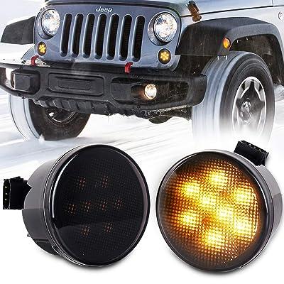 ZJUSDO Jeep JK Turn Signal Lights Smoked Lens Amber LED Front Grill Indicator Parking Lights for 2007-2020 Jeep Wrangler JK JK Unlimited: Automotive