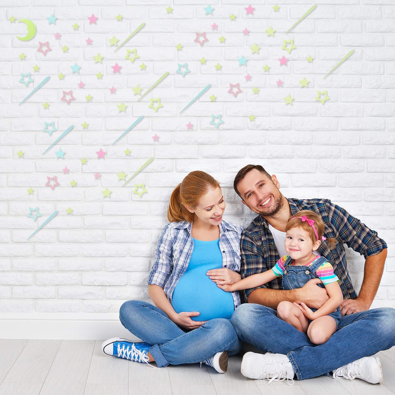 253 Pieces Glow bei Dark Stars Stickers 3D Ceiling Star Decals Stars Meteor und Moon Wall Stickers für Bedroom Ceiling Wall Decorations