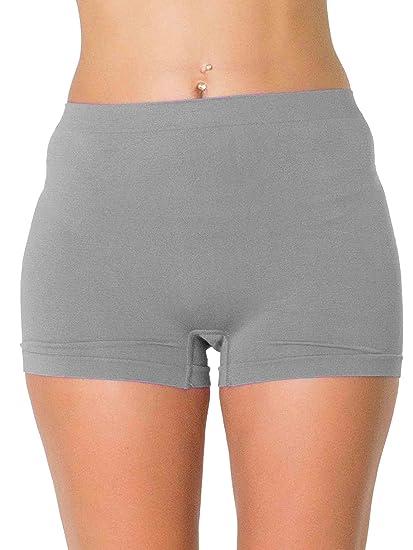 692901c09a53 LOVE MY Fashions Womens Underwear Plain High Waist Ladies Seamless Stretch  Boxer Shorts S M L XL XXL