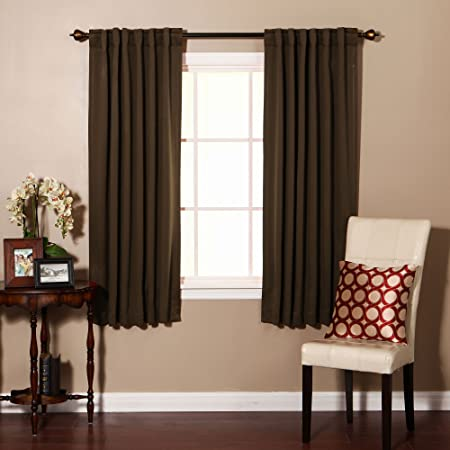 Premium Solid Thermal Insulated Blackout Curtain 183cm L 1 Pair CHOCOLATE