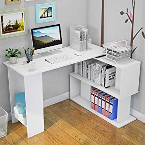 L-Shaped Desk with Shelves, Modern Corner Desks for Small Space Study Computer Gaming Desk Writing Table Workstation for Home Office, White