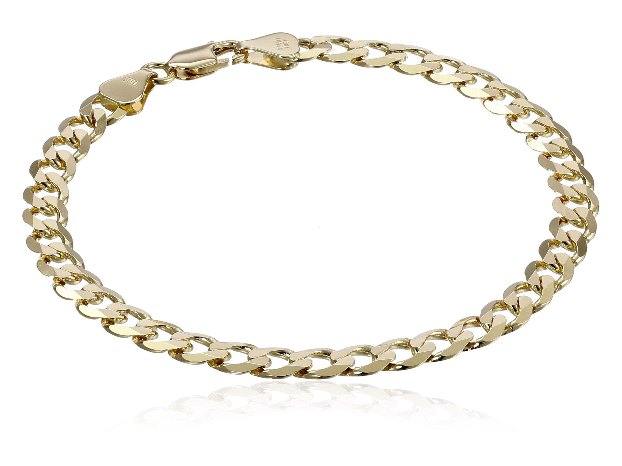 Men's 18k Yellow Gold 5.65mm Italian Diamond-Cut Bevelled Flat Curb Cuban Bracelet, 8''