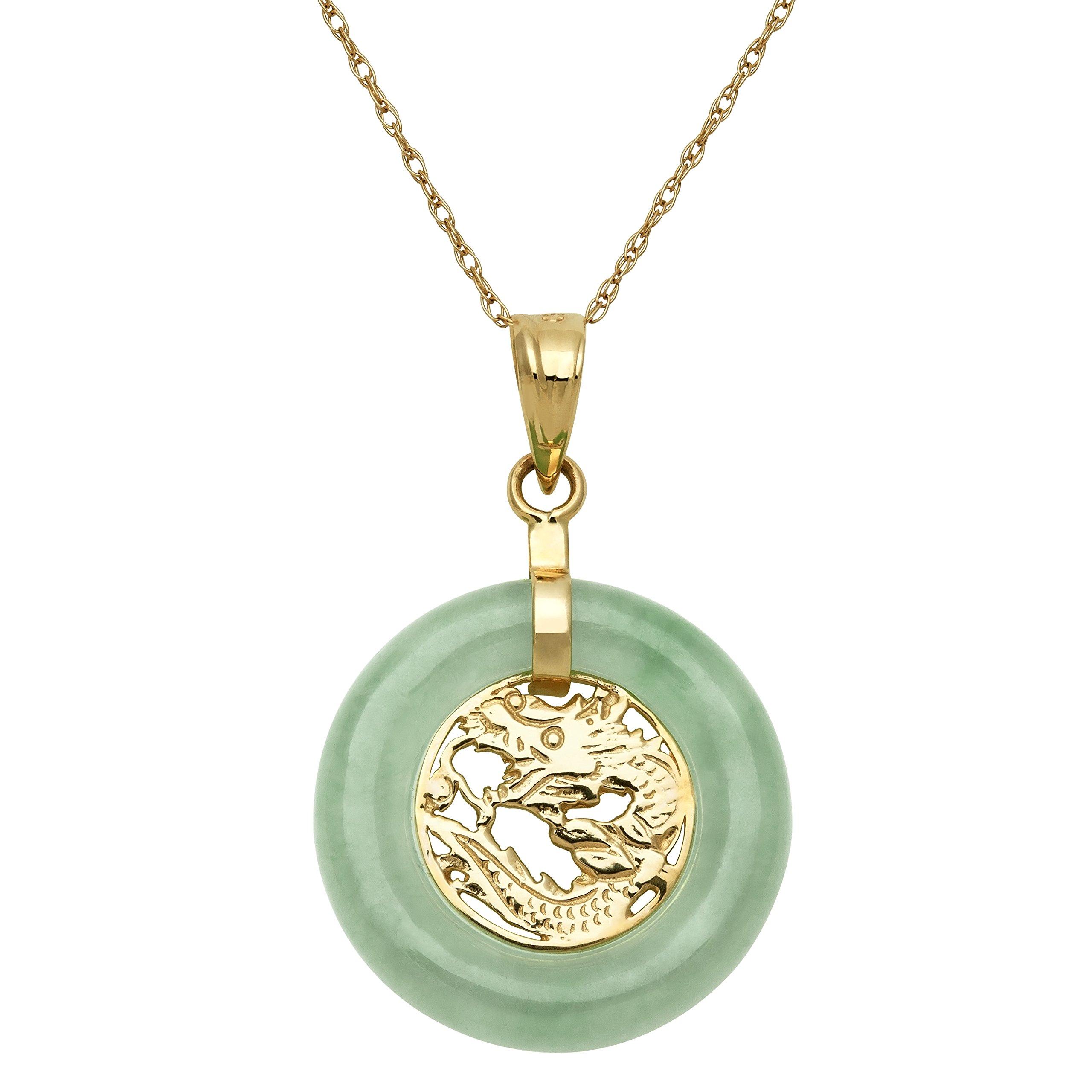 10k Yellow Gold Natural Green Jade Dragon Pendant Necklace,18''