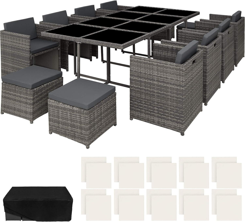 TecTake 800674 Conjunto Muebles de Jardín en Aluminio y Ratán Sintético, para 12 Personas, 1 Mesa + 8 Sillones + 4 Taburetes, Funda Protectora (Gris | no. 403090): Amazon.es: Jardín