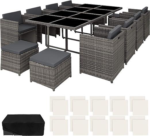 TecTake 800674 Conjunto Muebles de Jardín en Aluminio y Ratán ...