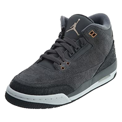 outlet store 3e9aa 7753a Nike Air Jordan 3 Retro (Gs) Size 6.5Y Girl Basic/Active Dark Grey/MTLC Red  Bronze-White Shoes