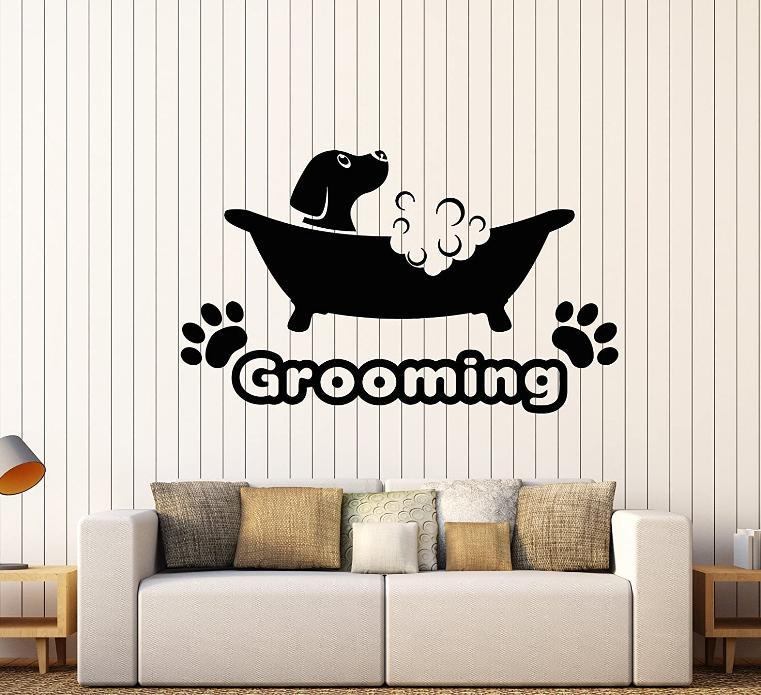Vinyl Wall Decal Pets Beauty Salon Grooming Dog Puppy Bath Stickers Large  Decor (1746ig) Black