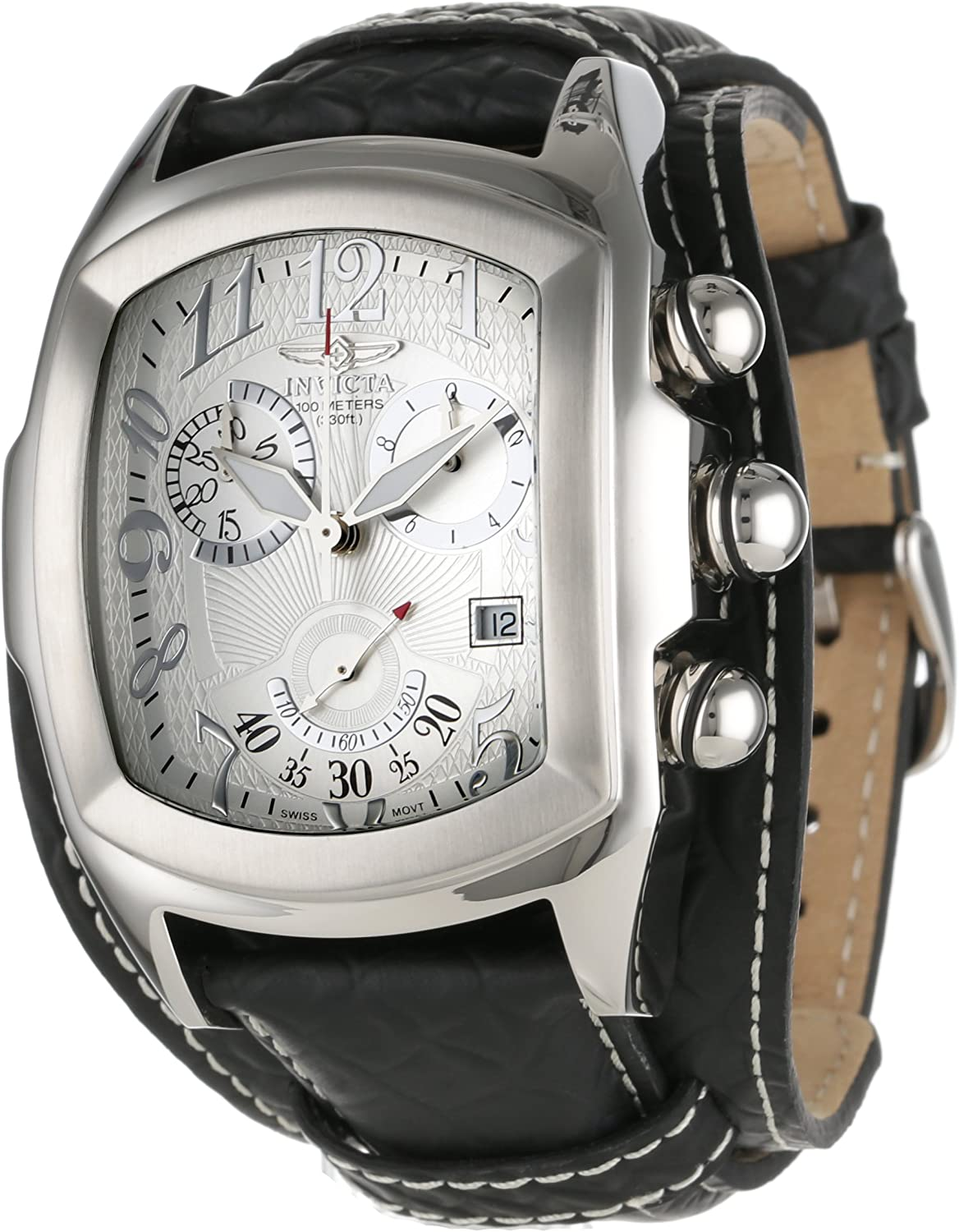 Invicta Men s 11327 Lupah Chronograph Silver Tone Textured Dial Black Leather Watch